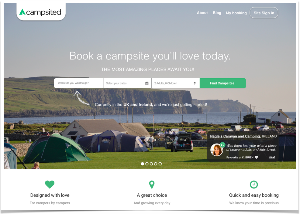 Camping Homepage early on