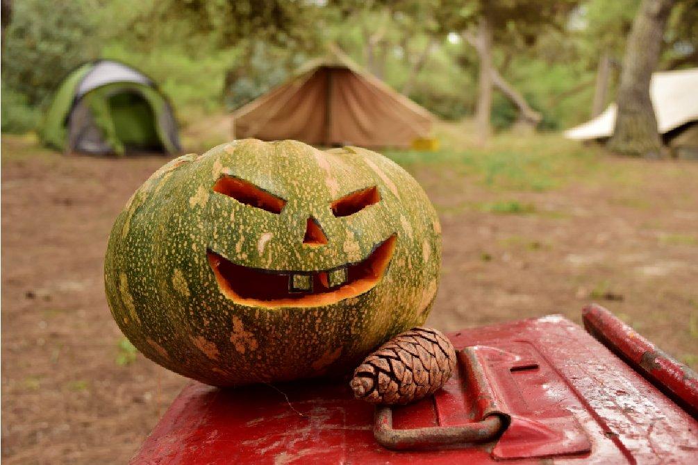 Halloween pumpkin camping